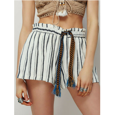 Free People Forever Young Tie Striped Printed Ivory Cotton Shorts S