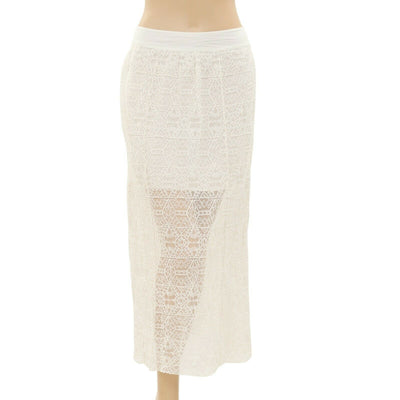 Aerie Mesh Embroidered Smocked Midi Skirt Ivory A-Line S