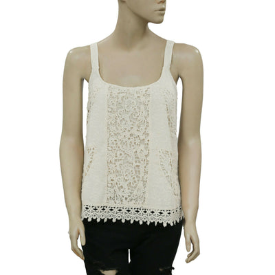 Odd Molly Anthropologie Embroidered Crochet Lace Tank Ivory Top S