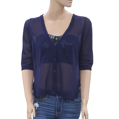 Anthropologie Solid Lace Navy Blouse Crop Top XS