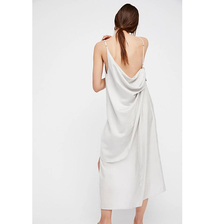 Free People Looks Like Layers Silver Midi Dress L