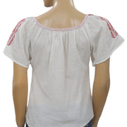 Anthropologie Soeurs Ballade Pink Embroidered Ivory Boho Summer XS