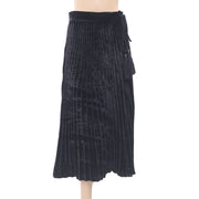Uterque Pleated Velvet Rope Tassels Midi Skirt Black Boho Evening Night S