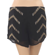 Free People Embroidered Shorts Beaded Embellished Zipper Black Boho L