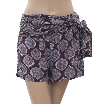 Free People Printed wrap tie shorts S