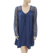 Ecote Aura Embroidered Mesh Sleeve Blue Mini Dress M