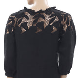 Ulla Johnson Floral Embroidered Crochet Ruffle Black Blouse Top XS