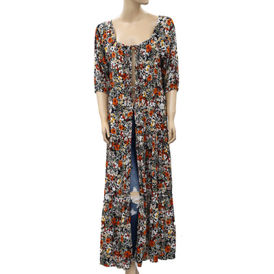 Free People Floral Printed Maxi Coverup Top M