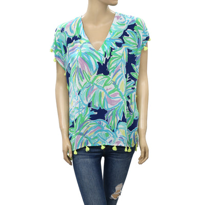 Lilly Pulitzer Fringes Kaftan Top Printed Summer Cool Beach Boho XXS/XS
