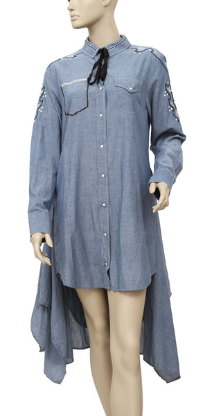 Ulla Johnson Embroidered Buttondown Cotton Blue High Low Dress M 8
