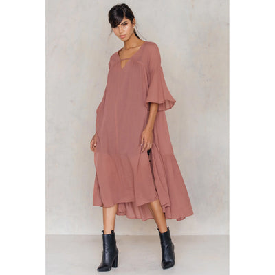 NA-KD Side Slit Caftan Summer Casual Brown Maxi Dress M