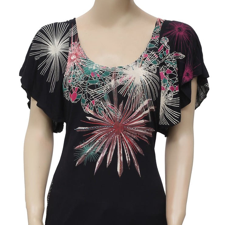 Desigual Printed Embellished Black Tunic Top XS