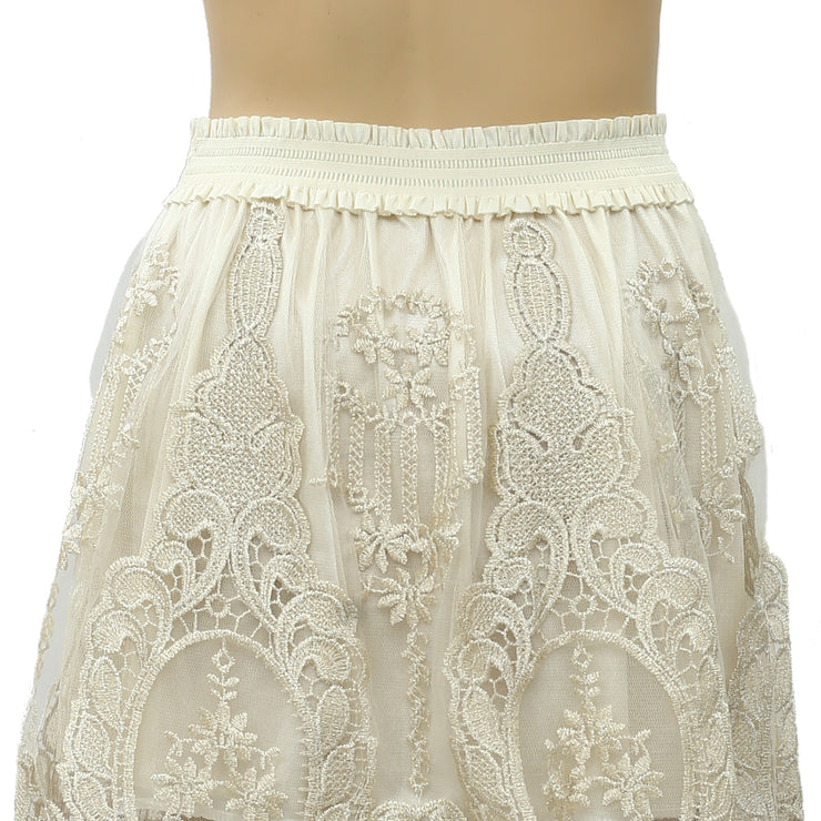 Moulinette Soeurs Anthropologie Shimmer Embroidered Skirt XS