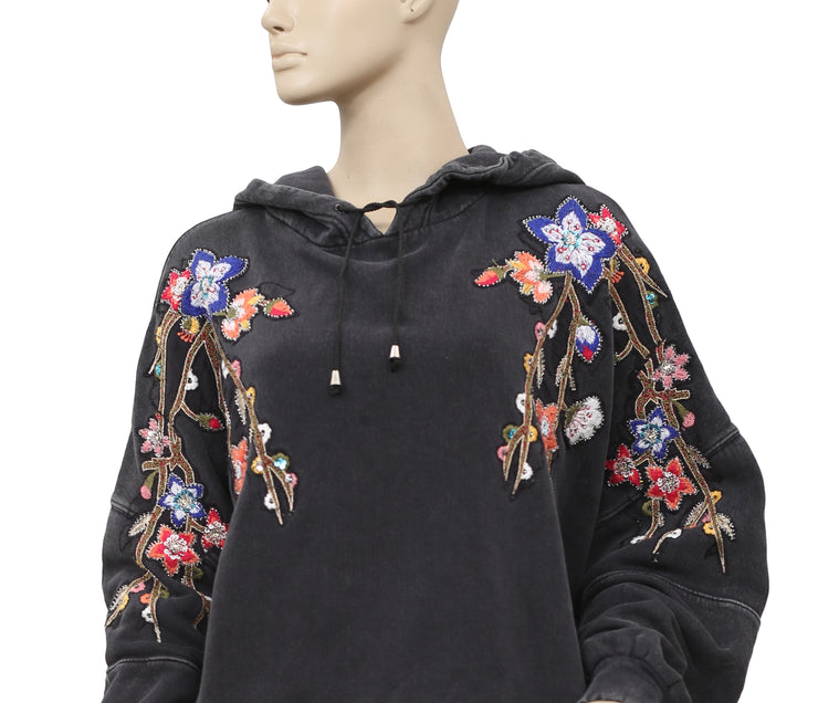 Free People Embroidered Embellished Hoodie Top XS