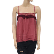 Free People Embroidered Ruffle Camisole Top M