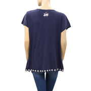 Odd Molly Anthropologie Embroidered Navy Blouse Top XL 4