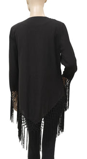 Roja Floral Embroidered Fringes Coverup S