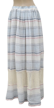 Free People Mesh Printed Pleated Cotton Maxi Skirt L