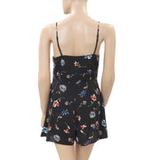 Kimchi Blue Urban Outfitters Floral Printed Black Romper Dress XS