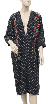 Free People Floral Embroidered Black Midi Dress L