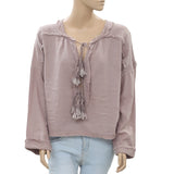 Free People Riptide Gauzy Oversize Summer Mink Cotton Blouse Top M New