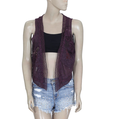 192782 New Free People Embroidered Sheer Purple High Low Coverup Shrug Small