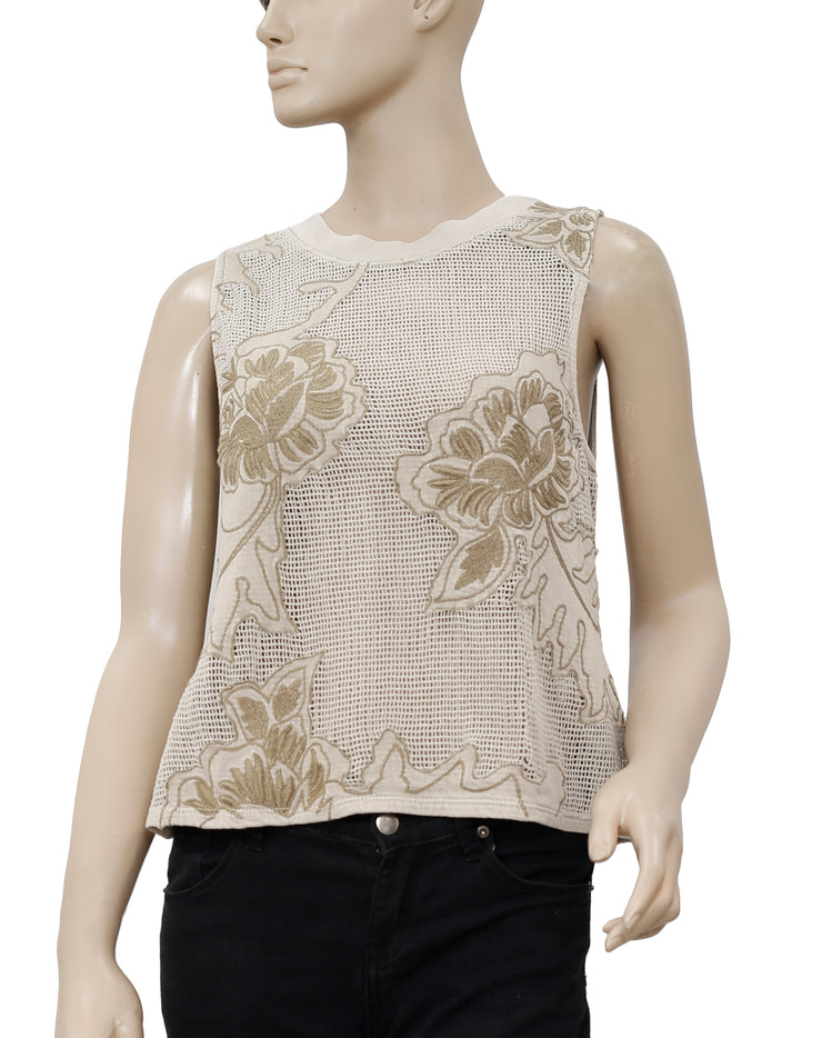 Ecote Maya Floral Embroidered Top S