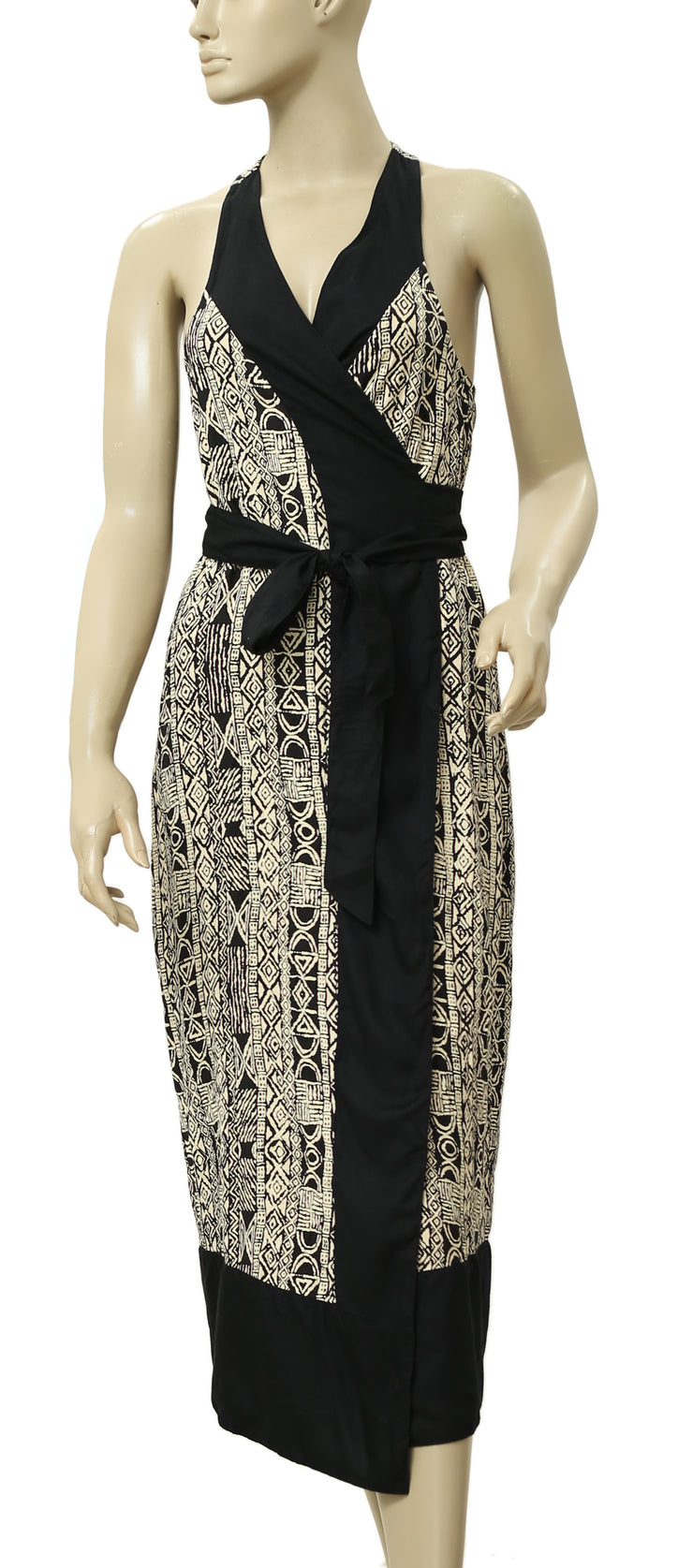 Free People Printed Robe Wrap Racer Back Midi Dress XS