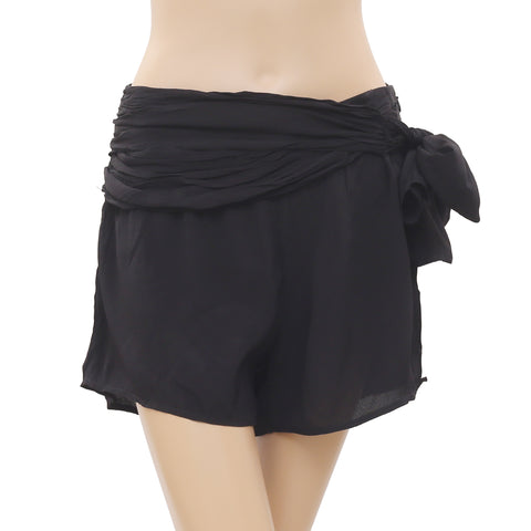 New Free People Black Tie Knot Zipper Mini Shorts Small S 4