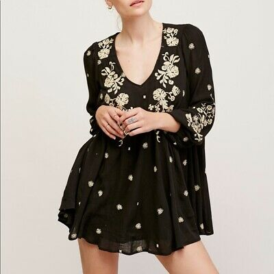 Free People Sweet Tennessee Embroidered Black Mini Dress L