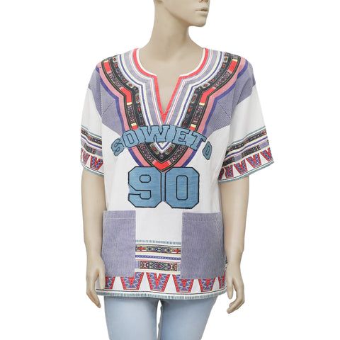 White Chocolate Printed Patchwork White Pocket Tunic Top  L