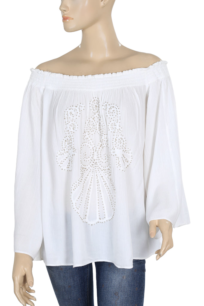 346e1a240e0 Lilly Pulitzer Embroidered Off The Shoulder White Blouse Top Small S – White  Chocolate Couture