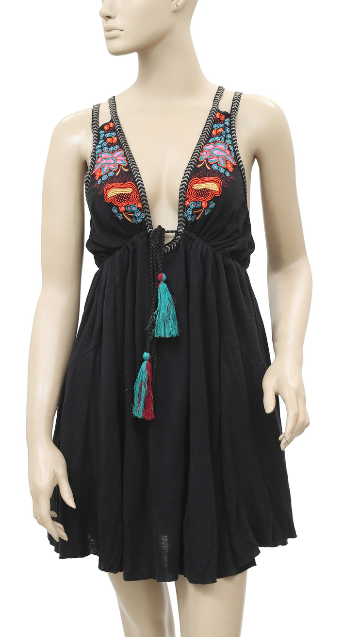 Free People Lovers Cove Embroidered Mini Dress S