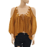 Free People FP One Monarch Gauze Cold Shoulder Front Tie Blouse Top S