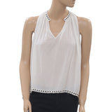 Denim & Supply Ralph Lauren Studded Peasant White Tank Blouse Top XS New