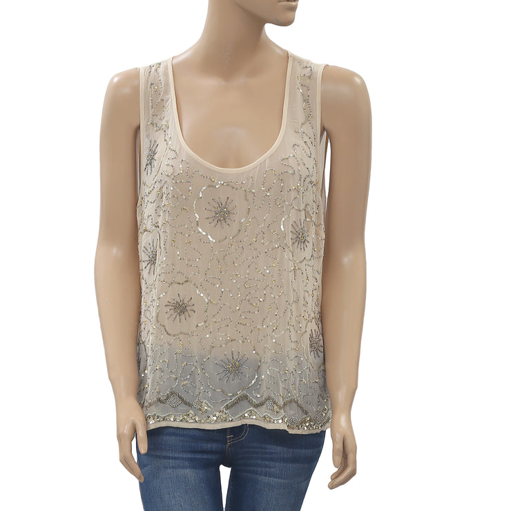 Moulinette Soeurs Anthropologie Glisten Embellished Blouse Tank Top M