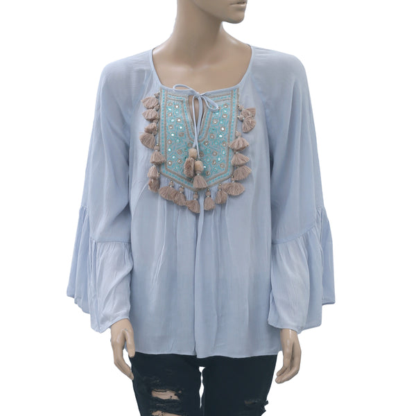 "Lilly Pulitzer ""Shandy"" Embroidered Flouncy Sleeve Resort Tunic Top S"
