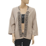 Free People Embellished Beige Blouse Coverup Top Front Open Pocket L