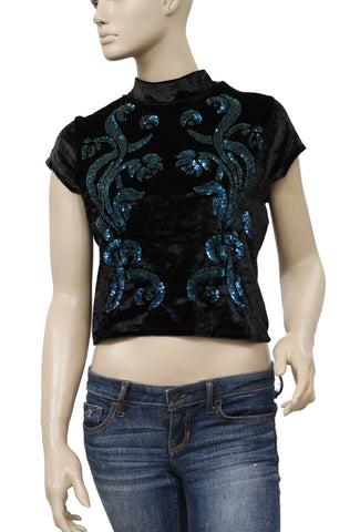 Free People Sequin Embellished Velvet  Cutout Top S