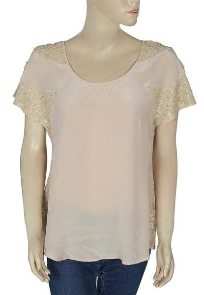 Saivana Anthropologie Embellished Silk Top M