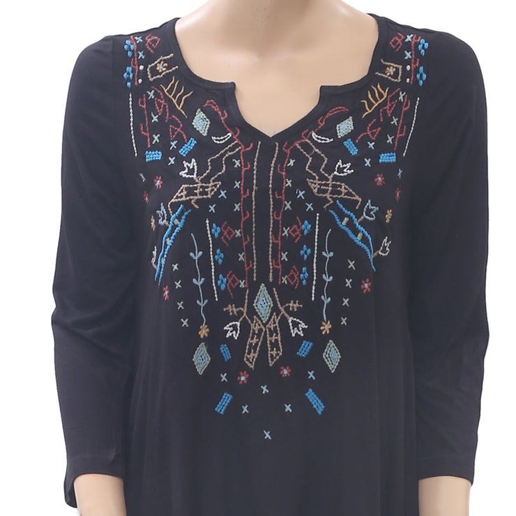 Caite Anthropologie Embroidered Tunic Top Black Asymmetrical Boho S NEW