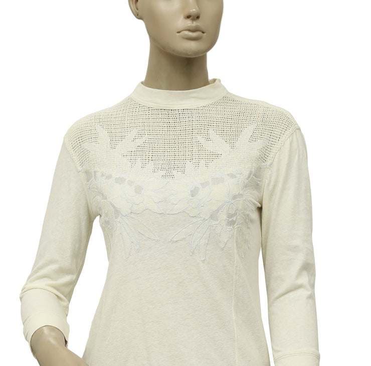 Free People Primrose Tee Embroidered Ivory Top S