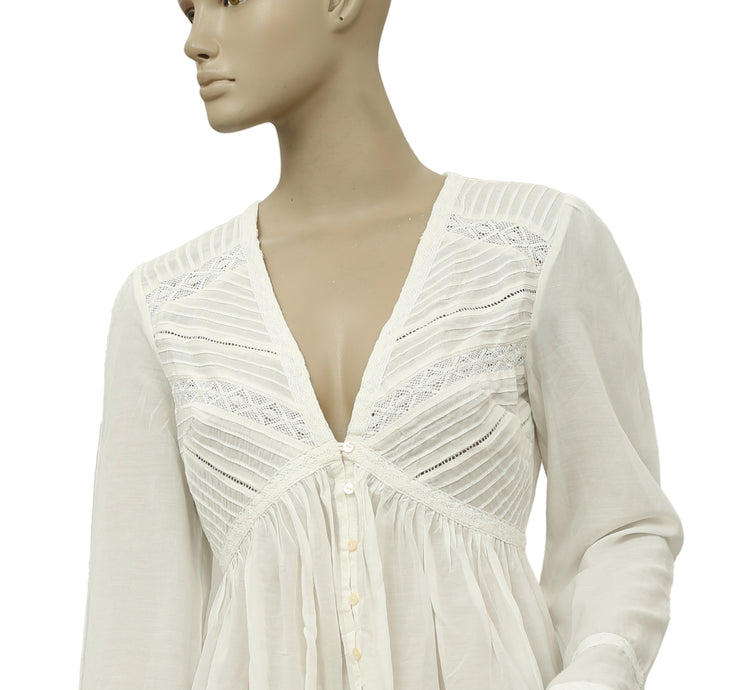 Free People You Got Me Babydoll Top White Blouse S 6