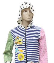 Savage Culture Striped Printed Zipper Front Hoodie Top S