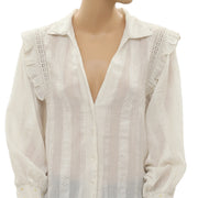 Free People Crochet Buttondown Top S