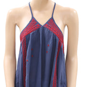 Ecote Urban Outfitters Embroidered Navy Top S