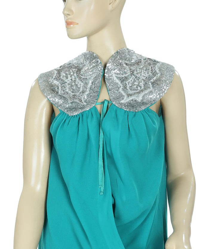 Saivana Anthropologie Embellished Sequin Wrap Green Tunic Dress Small S