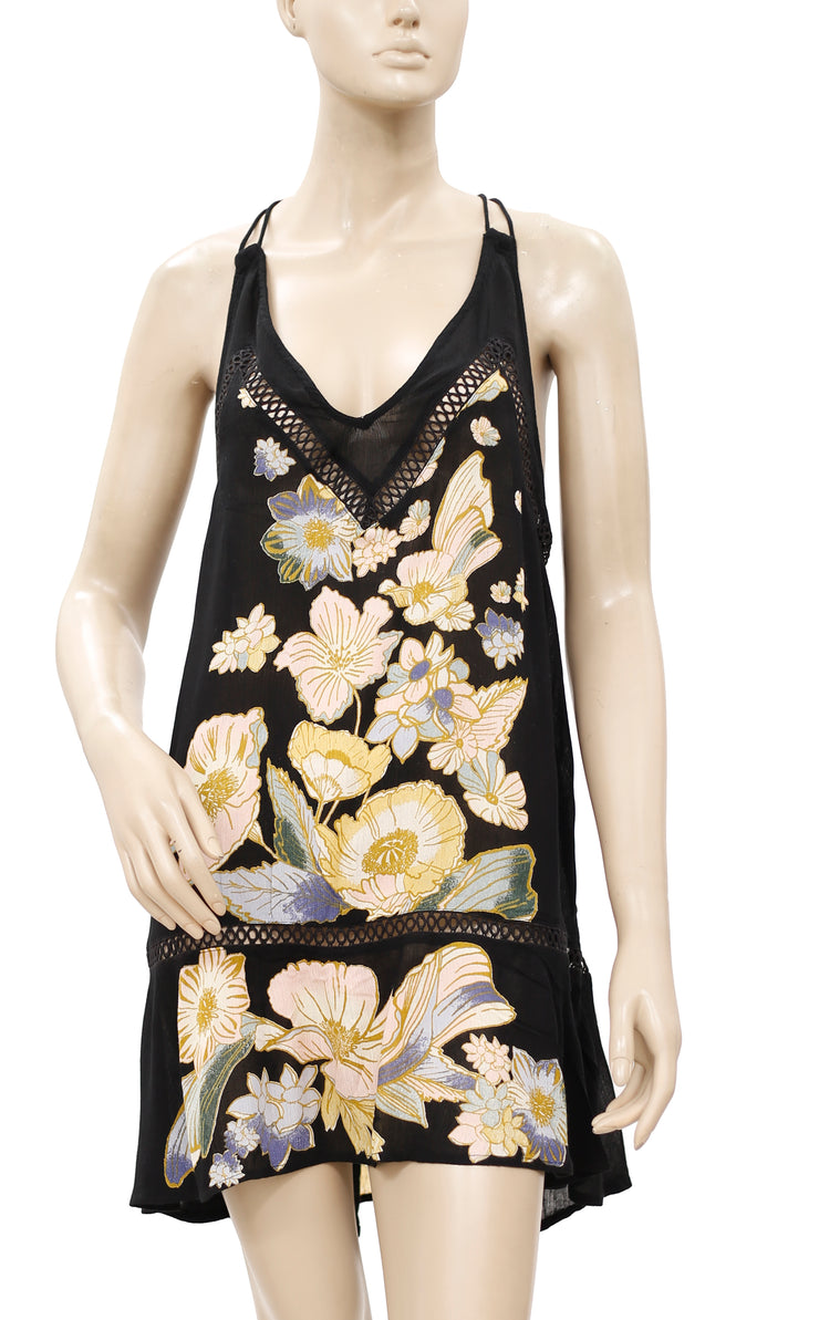 Free People Floral Printed Lace Dress S