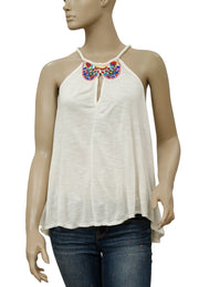 Free People Bead Embellished Ivory Blouse Top XS