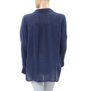 Free People Striped Dolman Navy Top M